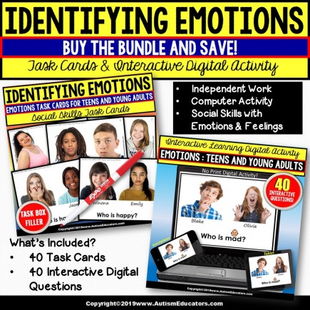 EMOTIONS BUNDLE for Teens and Young Adults NO PRINT DIGITAL and TASK CARDS