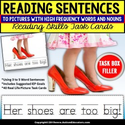 SIGHT WORD Sentences and Pictures Task Cards TASK BOX FILLER for Reading Skills