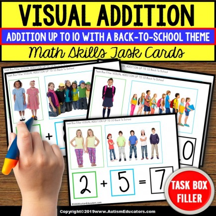 ADDITION WITH SUMS UP TO 10 Task Cards BACK TO SCHOOL THEME Task Box Filler