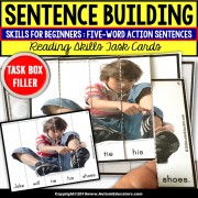 SENTENCE BUILDING with Pictures Task Cards READING SKILLS Task Box Filler SET #3