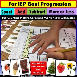 Special Education Math Center Activity for IEP Goal Skill Progression with Data