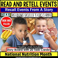National Nutrition Month READING COMPREHENSION Retell Details TASK BOX FILLER#9