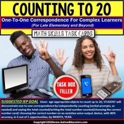 One to One Correspondence 1-20 TECHNOLOGY Upper Elem TASK CARDS Task Box Filler