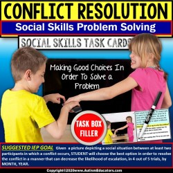 "Conflict Resolution Scenarios Between Peers for Social Skills ""Task Box Filler"""