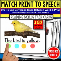 Match Print To Speech Reading Skills | Task Box Filler | Autism Resource