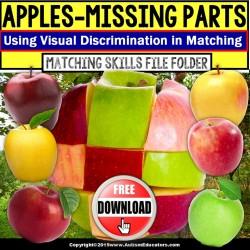 Apple Visual Discrimination FREE File Folder Activity