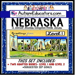 NEBRASKA State Symbols ADAPTED BOOK for Special Education and Autism