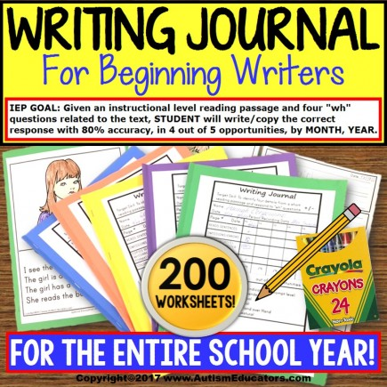 """WRITING JOURNAL """"Wh"""" Prompts and DATA BUNDLE For Special Education and Autism"""