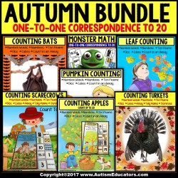 AUTUMN Counting Up To 20 ONE TO ONE CORRESPONDENCE BUNDLE for Special Education