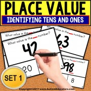 "PLACE VALUE Task Cards IDENTIFYING TENS AND ONES ""Task Box Filler"" for Autism"