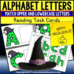 Halloween MATCHING UPPER AND LOWER CASE LETTERS Task Box Filler TASK CARDS for AUTISM