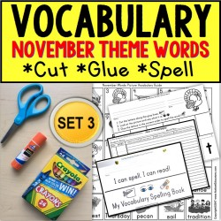 NOVEMBER Vocabulary and Fine Motor MONTHLY Worksheets for Special Education