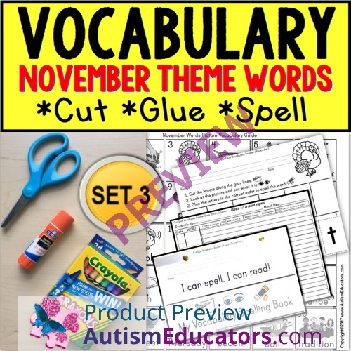 November Vocabulary And Fine Motor Monthly Worksheets For Special