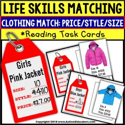 LIFE SKILLS Task Cards For Matching Clothing Sales Tag TASK BOX FILLER Autism
