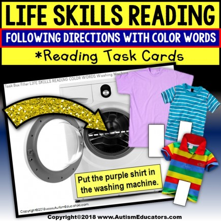 LIFE SKILLS Task Cards For COLOR WORDS Task Box Filler for Special Education