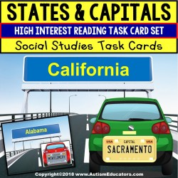 Task Cards MATCHING STATES and CAPITALS Task Box Filler for Special Education