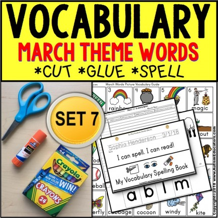 MARCH Vocabulary and Fine Motor MONTHLY Worksheets for Special Education