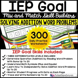 ADDITION WORD PROBLEMS - IEP GOAL SKILL BUILDER Worksheets
