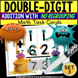 "TOUCH POINT Double Digit Addition TASK CARDS Monster Theme ""Task Box Filler"""