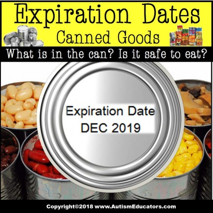 Life Skills Task Cards -EXPIRATION DATE on Canned Food TASK BOX FILLER