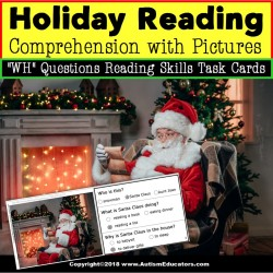 Christmas Picture Comprehension Task Cards Task Box Filler Reading Strategies