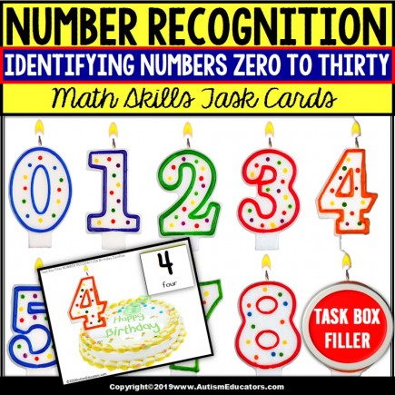 NUMBER RECOGNITION Task Cards TASK BOX FILLER - Special Education Resource