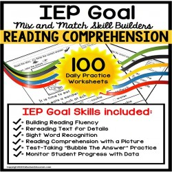 READING COMPREHENSION IEP Goal Skill Builder WORKSHEETS for Autism