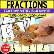 FRACTIONS Task Cards TASK BOX FILLER - Special Education Resource