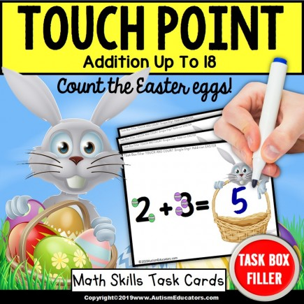 "TOUCH POINT Single Digit Addition TASK CARDS – EASTER Theme ""Task Box Filler"""