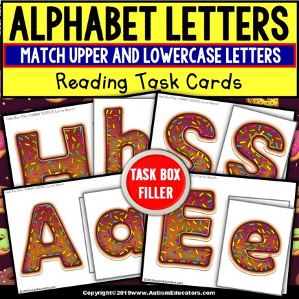 Upper and Lowercase Letter Match Task Cards YUMMY COOKIE - TASK BOX FILLER