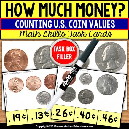 COUNTING COINS Task Cards (penny/nickel/dime/quarter) TASK BOX FILLER
