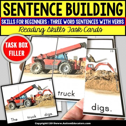 SENTENCE BUILDING with Pictures Task Cards READING SKILLS Task Box Filler SET #2