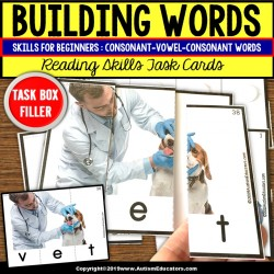 BUILDING C-V-C WORDS with Pictures Task Cards READING STRATEGIES Task Box Filler