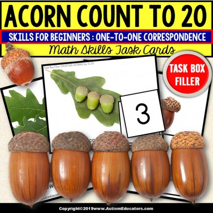 """ONE TO ONE CORRESPONDENCE 1 -20 Counting ACORNS Task Cards """"Task Box Filler"""""""