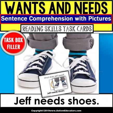 "WANTS and NEEDS Sentence Comprehension Task Cards ""Task Box Filler"" for Autism"