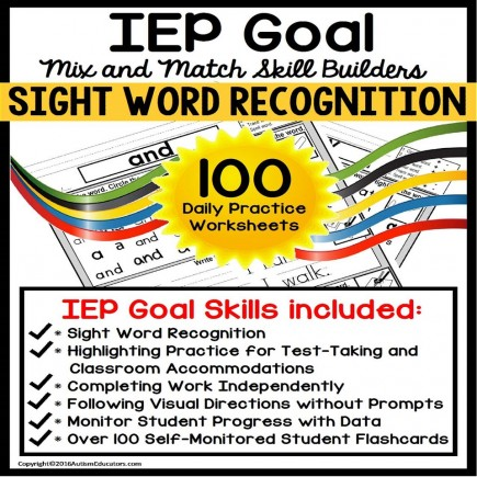 SIGHT WORDS IEP Goal Skill Builder WORKSHEETS for Autism and Special Education