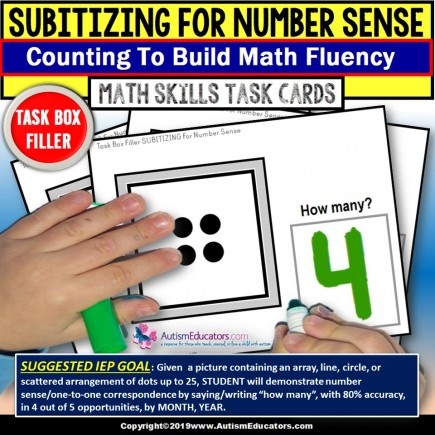 "SUBITIZING - NUMBER SENSE Counting Up To 25 Task Cards ""Task Box Filler"""