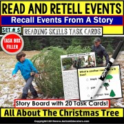READING COMPREHENSION Task Cards Read/Retell Details CHRISTMAS Task Box Filler