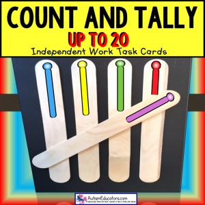 TALLY MARKS Task Cards COUNT UP TO 20  TASK BOX FILLER