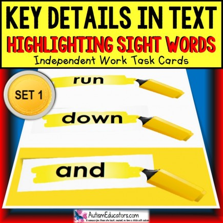 SIGHT WORDS Task Cards KEY DETAILS WITHIN TEXT Task Box Filler SET 1 TASK BOX FILLER