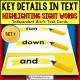 SIGHT WORDS Task Cards KEY DETAILS WITHIN TEXT Task Box Filler SET 1 TASK BOX FILLER