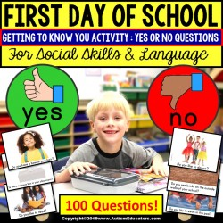 FIRST DAY OF SCHOOL Getting To Know You ACTIVITY with YES or No Questions