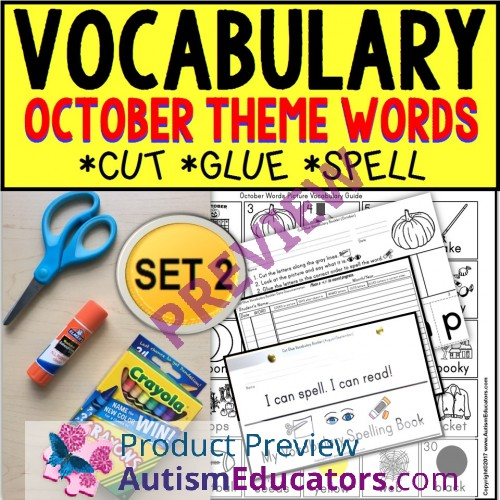 Where Vocabulary Of Autism Is Failing >> October Vocabulary And Fine Motor Monthly Worksheets For Special Education