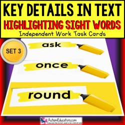 SIGHT WORDS Task Cards KEY DETAILS WITHIN TEXT Task Box Filler SET 3