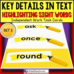 SIGHT WORDS Task Cards KEY DETAILS WITHIN TEXT Task Box Filler SET 3