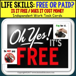 LIFE SKILLS Task Cards Is it FREE or DO I NEED TO PAY - Independent Work AUTISM