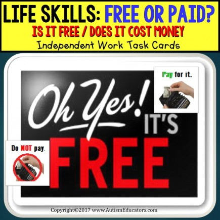 LIFE SKILLS Task Cards Is it FREE or DO I NEED TO PAY - Independent Work AUTISM TASK BOX FILLER