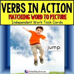 VERBS Reading and Matching Task Cards TASK BOX FILLER