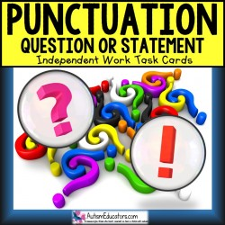 PUNCTUATION Task Cards QUESTION or STATEMENT Task Box Filler
