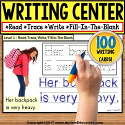WRITING CENTER MATS Read Trace Write Fill-In-The-Blank for Special Education
